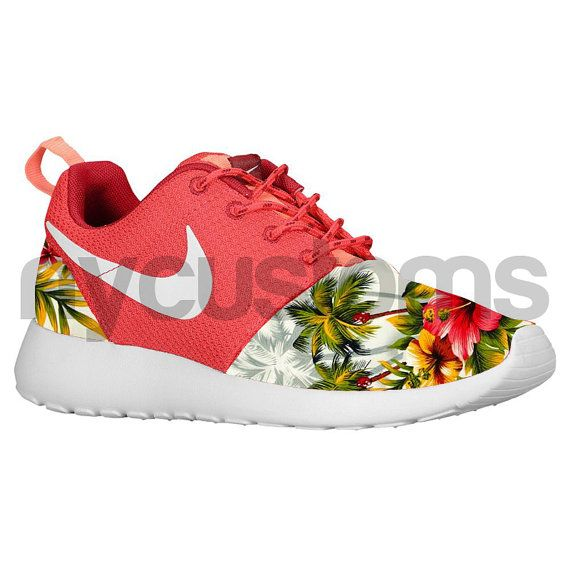 outlet store 81dc8 9e211 Nike Roshe Run Fusion Red Grey Island Floral Palm by NYCustoms,  175.00