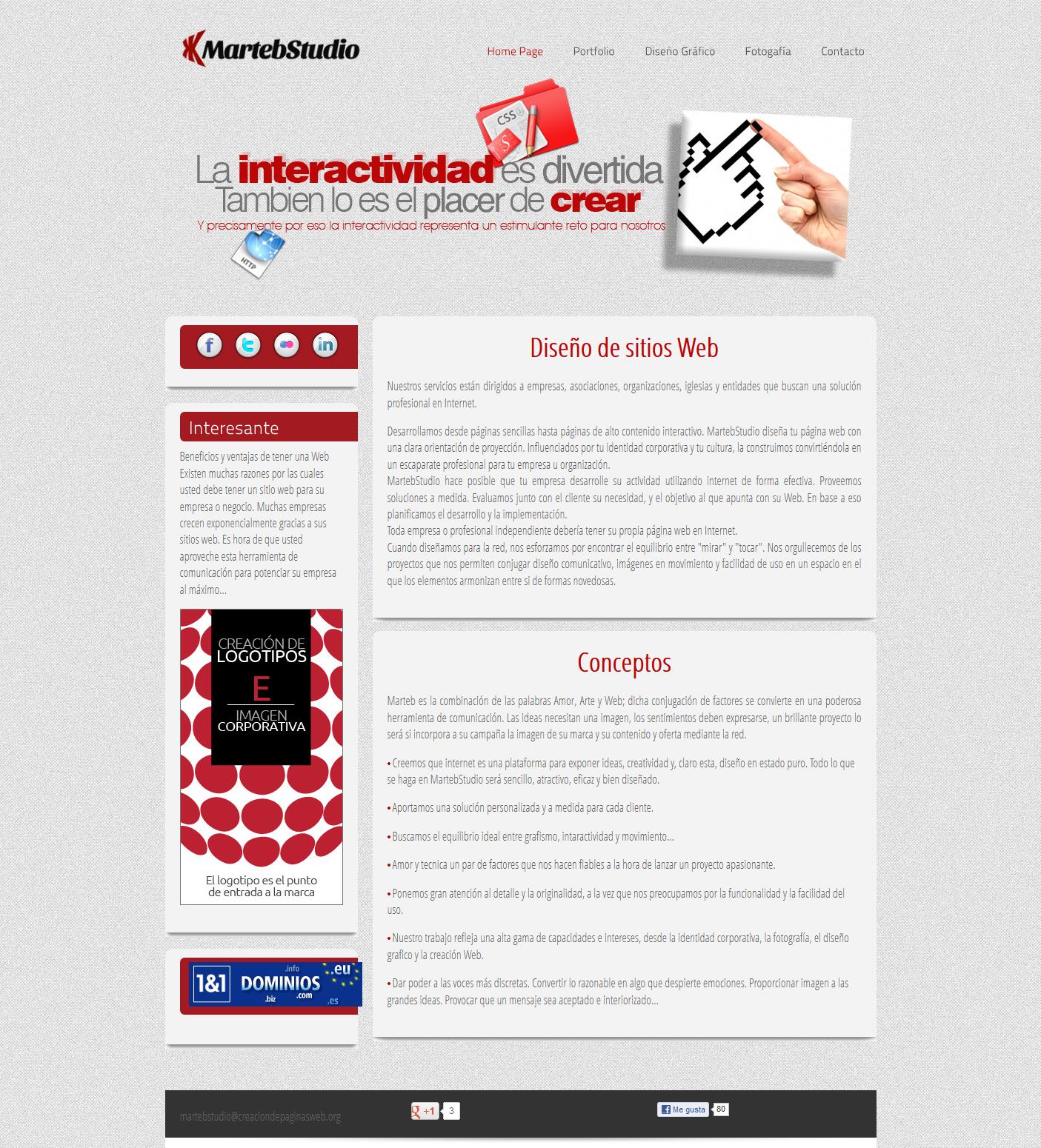 Sitio Web de MartebStudio. Desarrollo Web, Diseño Gráfico y Fotografía.