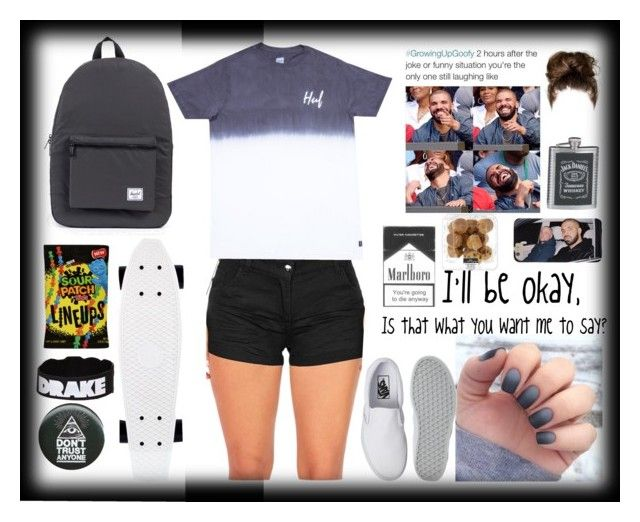 """I'll be okay. "" by the-after-party ❤ liked on Polyvore featuring Herschel Supply Co., Vans and HUF"