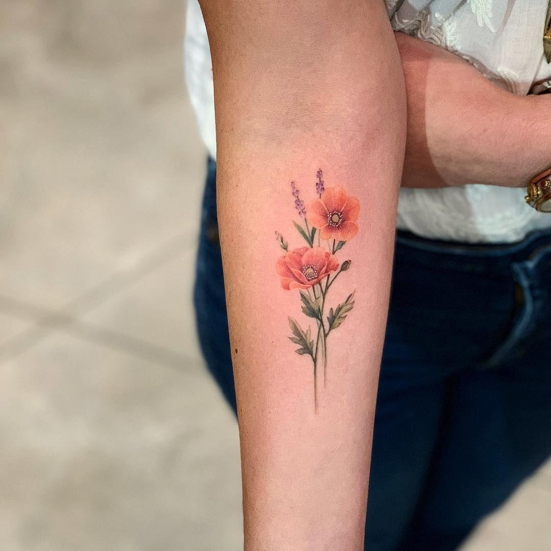 Arm Poppy Tattoo Small Tattoo Ideas For Women