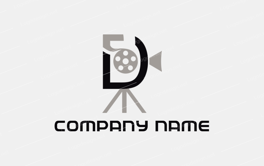 Film Reel And Camera Inside Letter D Lettering Logo Templates Letter D