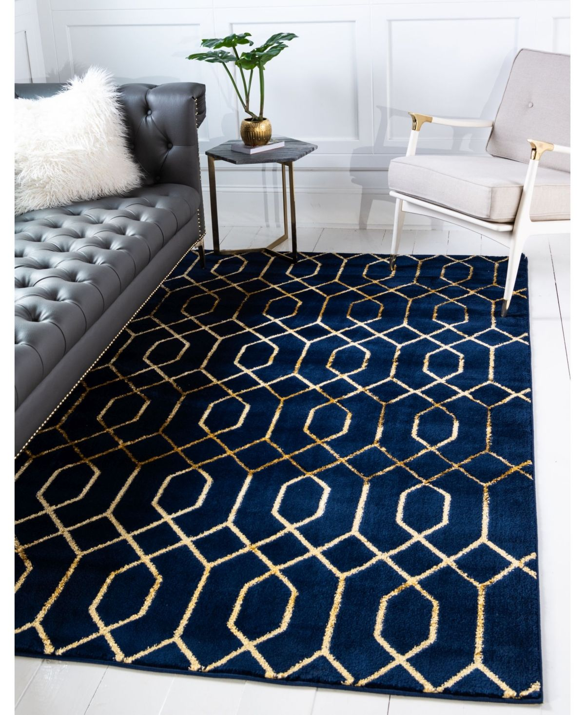 Marilyn Monroe Glam Mmg001 Navy Blue Gold 9 X 12 Area Rug Reviews Furniture Macy S In 2020 Blue And Gold Bedroom Gold Living Room Blue And Gold Living Room