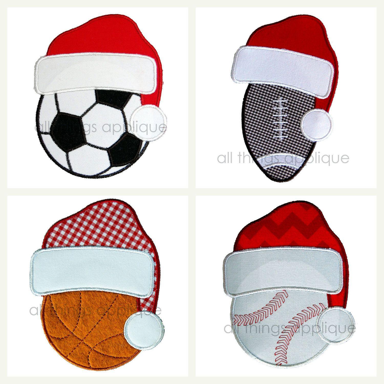 Santa Hat Sports Set Christmas Applique Designs 4 Designs 3