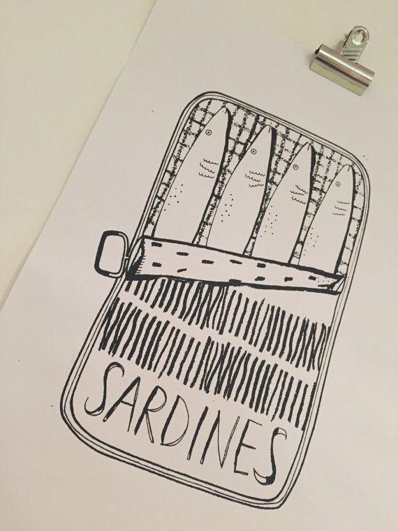 A3 Sardine Tin Hand Screen Printed Design by CharBellsPrint