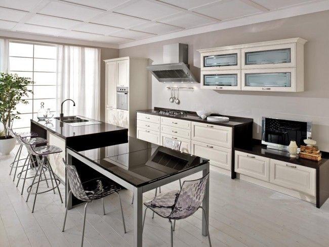 Cuisine en bois classique CucineLube avec une touche luxe - Table De Cuisine Avec Plan De Travail