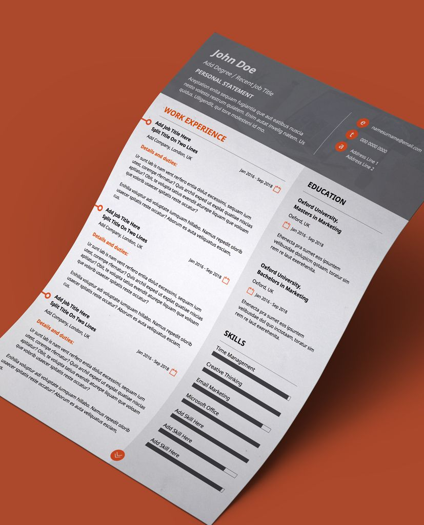Grey and Orange Modern Double Page CV Resume Modern