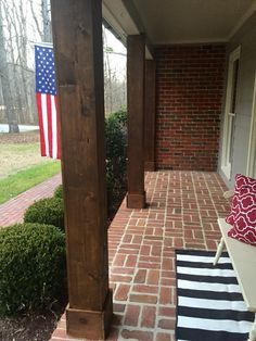 Brick Pavers Porch Cedar Columns Black And White Stripes Red