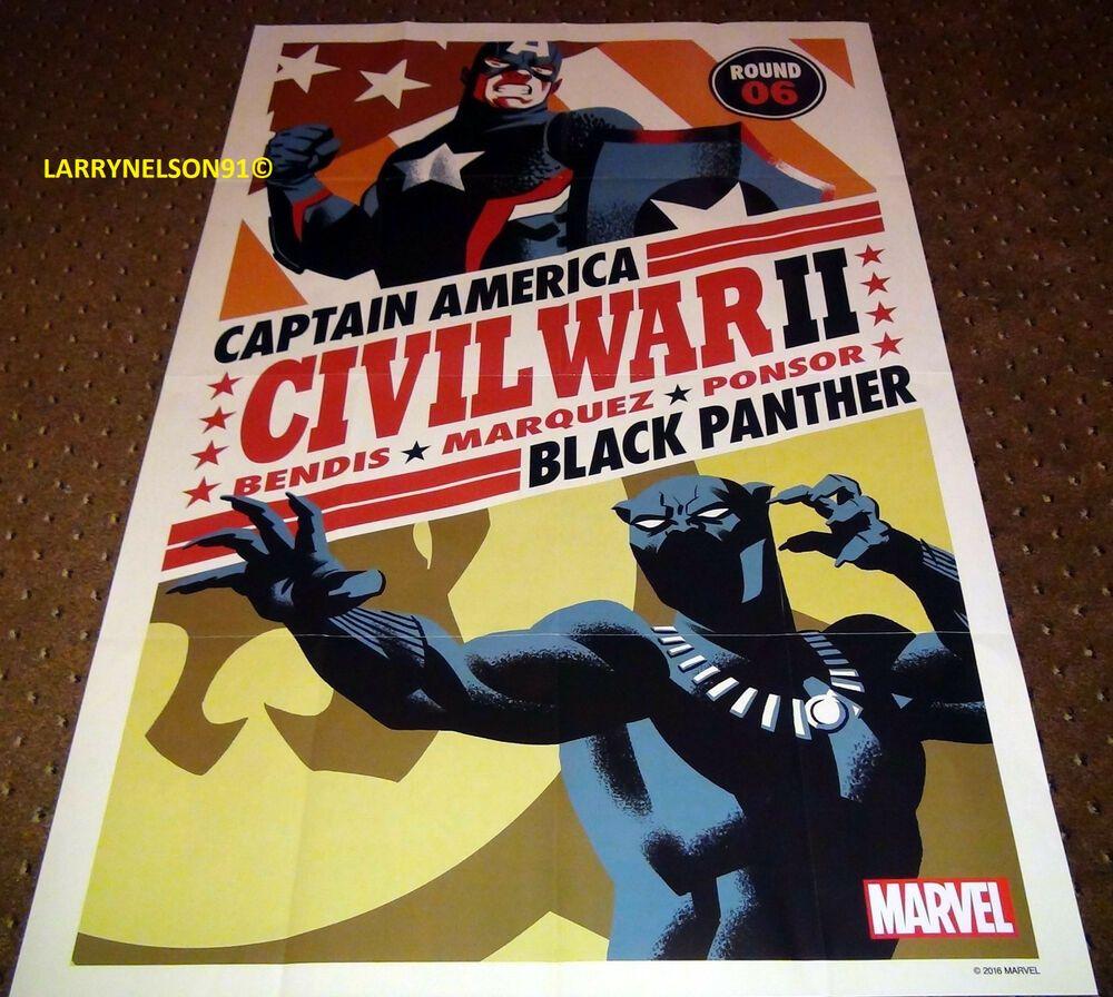 Civil war ii variant poster marvel 24x36 black panther vs