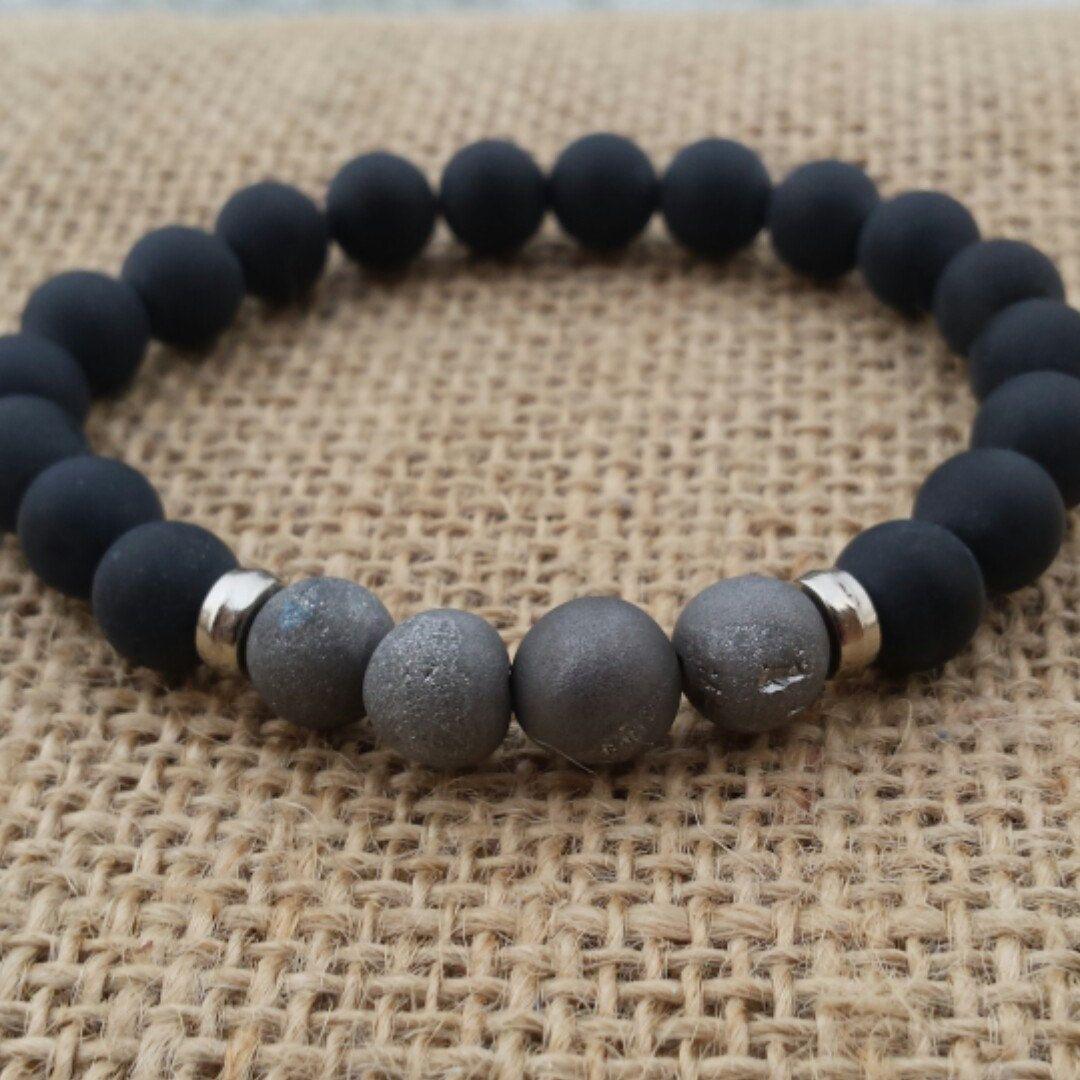 Geode Quartz Drusy Druzy Metallic Silvery Grey Bracelet Matte Black Onyx Men S Beaded Stretch