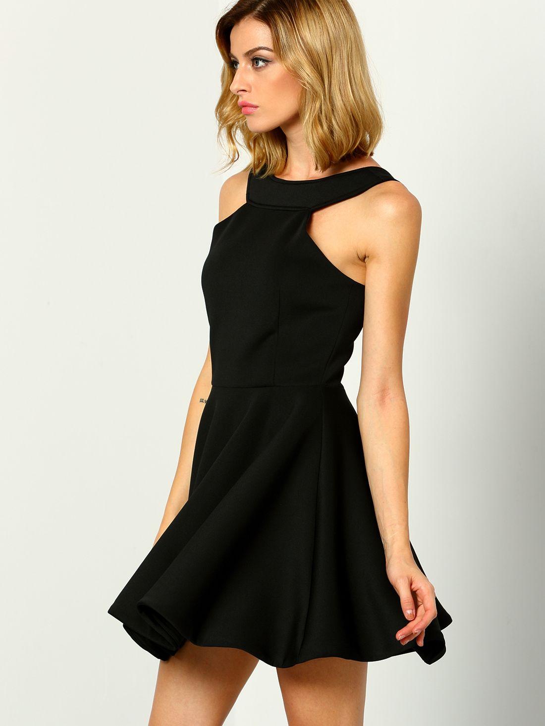Black halter backless flare dress black