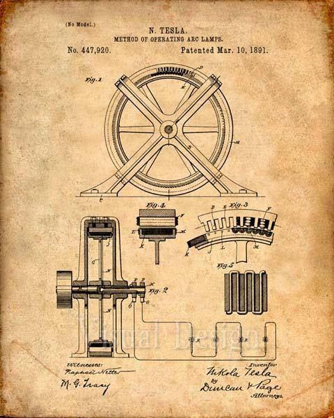 Tesla method of operating arc lamps patent print tesla blueprint art tesla method of operating arc lamps patent print tesla blueprint art print malvernweather Choice Image