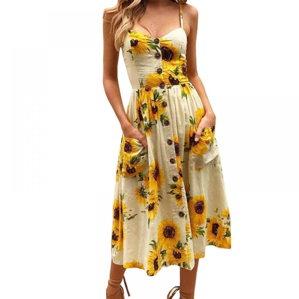 Vintage Bohemian Spaghetti Strap Print Sunflower A Line Backless Dress Womens Dresses Summer Dresses For Women Summer Dresses [ 1000 x 1000 Pixel ]