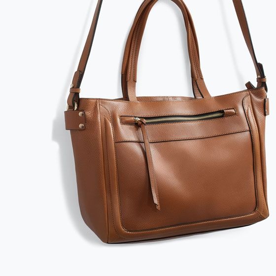 ZARA - SALE - LEATHER SHOPPER BAG