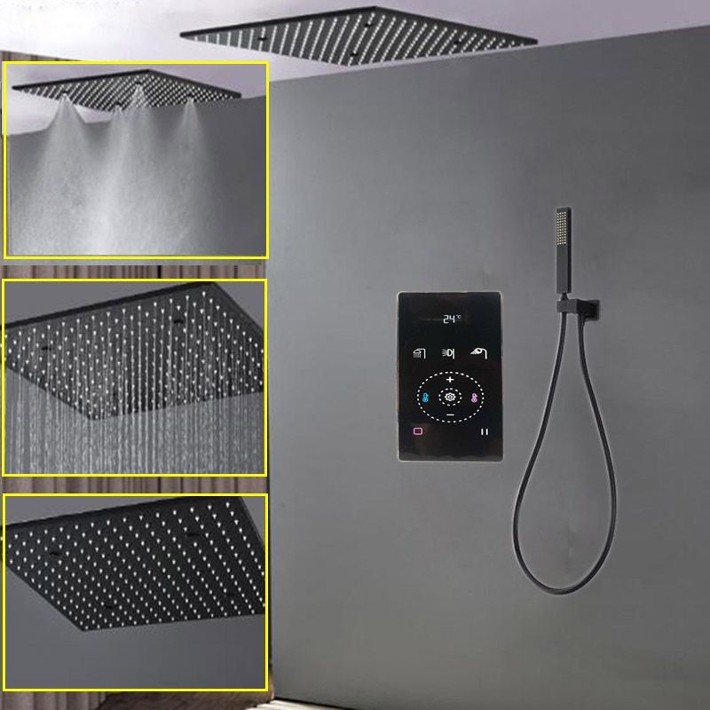 304 SUS Rainfall Shower Head With Black Intelligent Digital Mixer 20 SPA Mist Thermostatic Shower System Kit Touch Panel Faucet #touchpanel