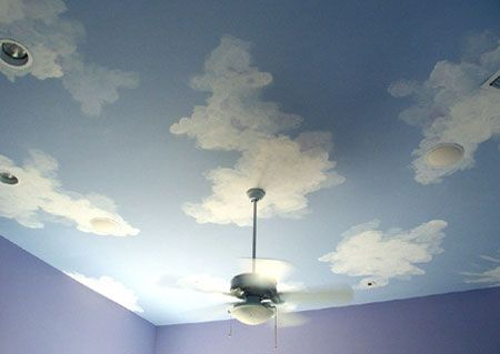 How To Paint Clouds On Walls Or Ceiling Paint Cloud Ceiling
