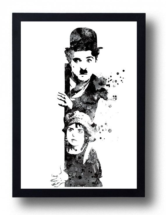 Charlie chaplin watercolor art print charlie chaplin movie poster the kid poster classic movie cinema art movie postersart printskids posterblack white