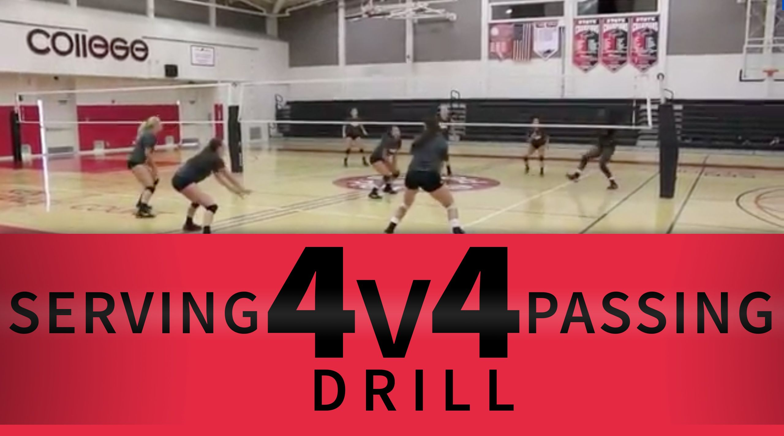 4 V 4 Serving And Passing Drill Coaching Volleyball Volleyball Drills Passing Drills