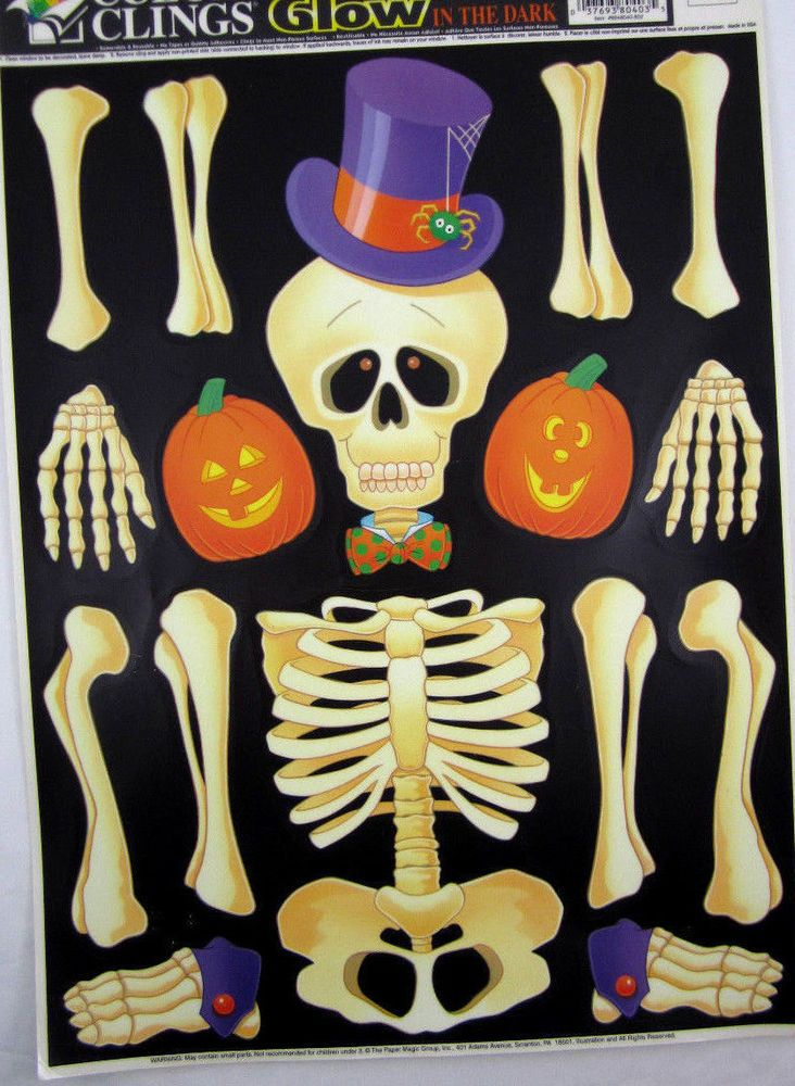 Glow-in-the-Dark Halloween Window Clings Skeleton Pumpkins New Old - halloween window clings