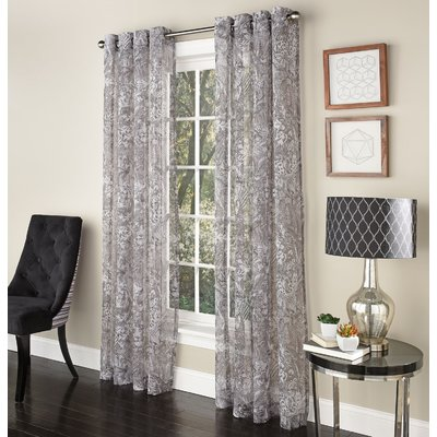 Bloomsbury Market Anesicia Nature Floral Flower Semi Sheer Grommet Curtains Panel Curtains Grommet Curtains Curtains