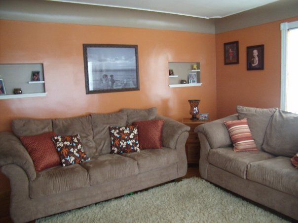 Orange \ Brown Living Room Orange, Coral, Peach  Tangerine Rooms - wohnzimmer orange grau