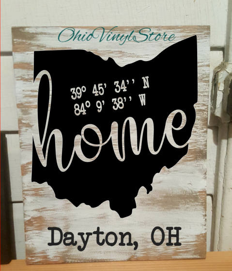 Ohio Home Coordinate Sign #ohiosign #homesign #coordinatesign Check out this item in my Etsy shop https://www.etsy.com/listing/521138942/home-state-decor-home-state-sign-rustic