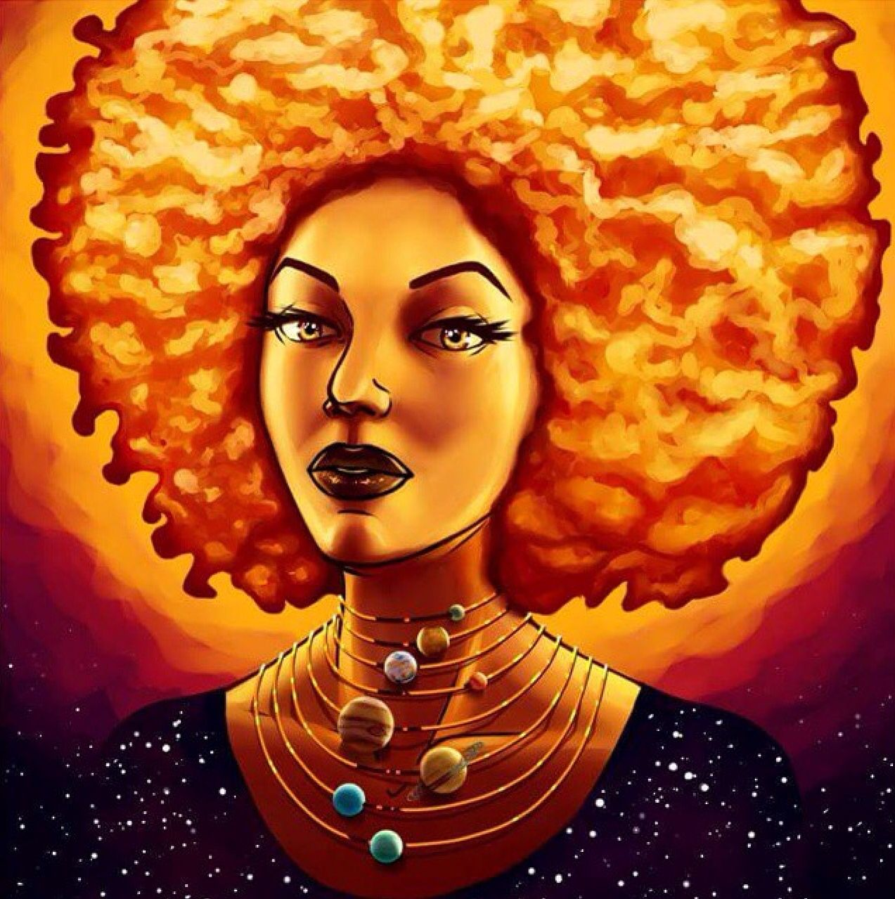 Black woman, center of the universe | Black Fantasy Art ...