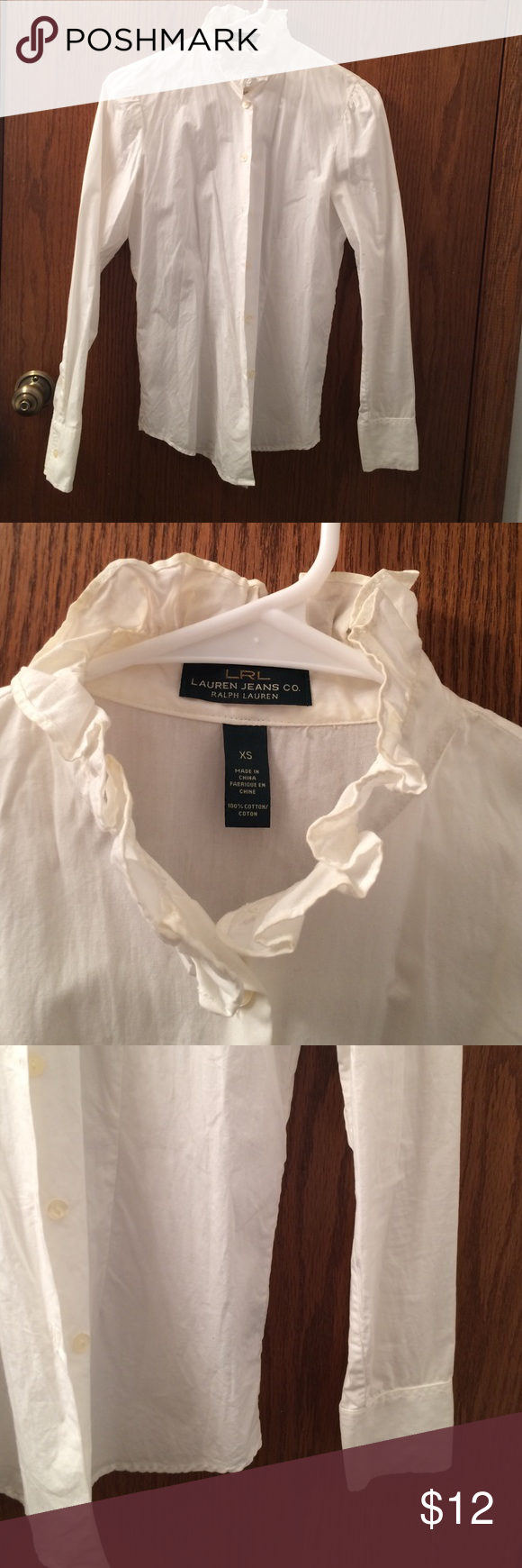 LRL Lauren jeans co Ralph Lauren white blouse LRL Lauren jeans co Ralph Lauren white blouse. Only wore 2 times. Go good with anything. It is getting to be little tight for me. Thanks. Tops Blouses