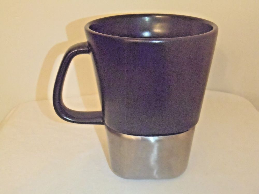 Large Contigo Coffee Desk Mug Black Ceramic Steel Silver Modern No Slip