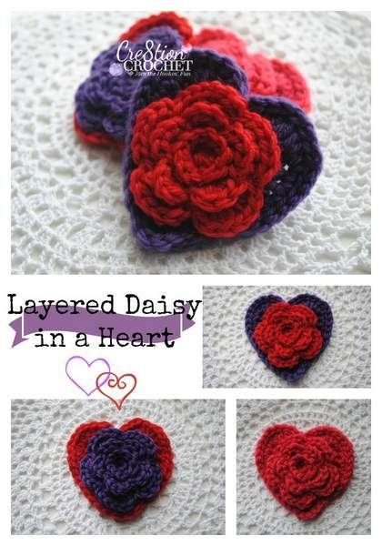 capas margarita en un patrón de crochet libre de corazón | Mariposa ...