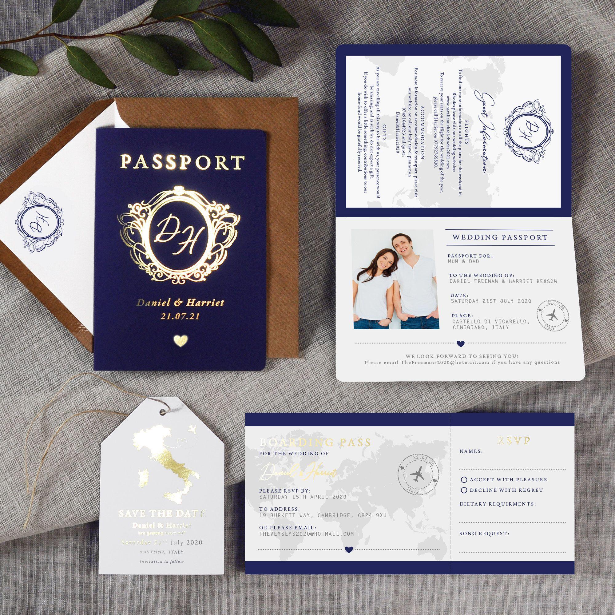 Passport Wedding Invitation, Boarding Pass RSVP, Luggage
