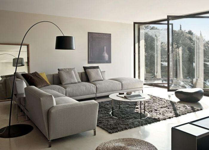 graues sofa wohnzimmeer grauer teppich Loft Pinterest