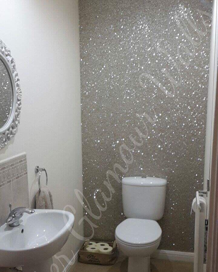 Silver Glamour Range Glitter Wallcovering Used In This Wc All White With A Silver Accent Very Modern Cr Glitter Bathroom Glitter Wallpaper Glitter Home Decor