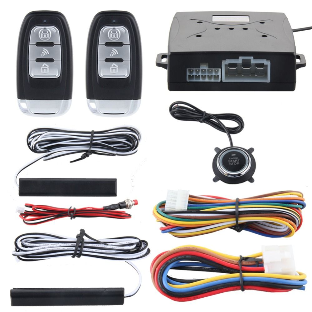 Functional Alarm System Passive Keyless Entry Push Button Remote Engine On//Off