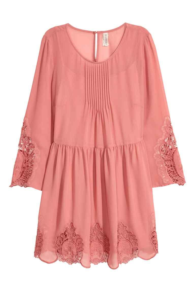 Hole-embroidered dress - Dark old rose - Ladies | H&M GB 1 | Dresses ...