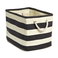 Charcoal Amp Ivory Rugby Stripe Storage Bin With Rope