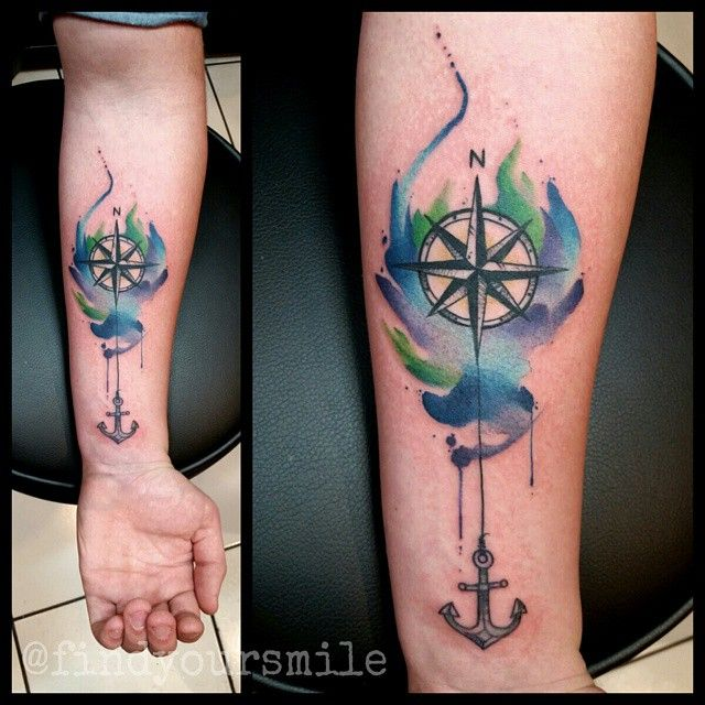 20 Awesome Anchor And Compass Tattoo Watercolor Compass Tattoo Tattoos Compass Rose Tattoo