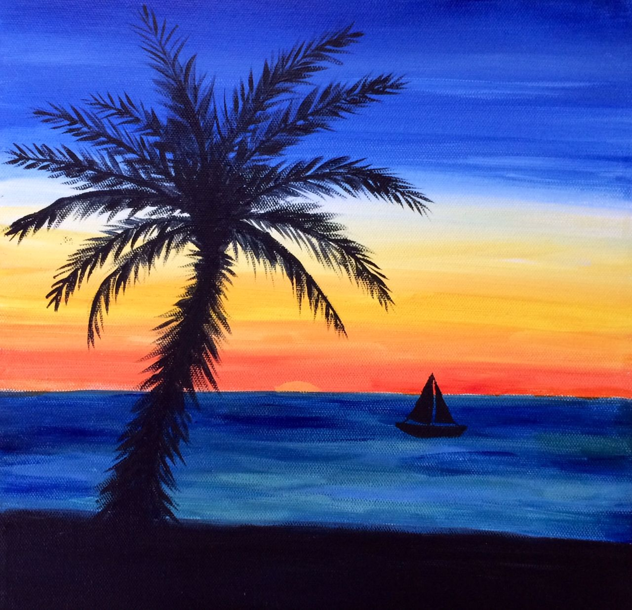 Easy Beach Sunset Paintings Painting of sunset beach ...