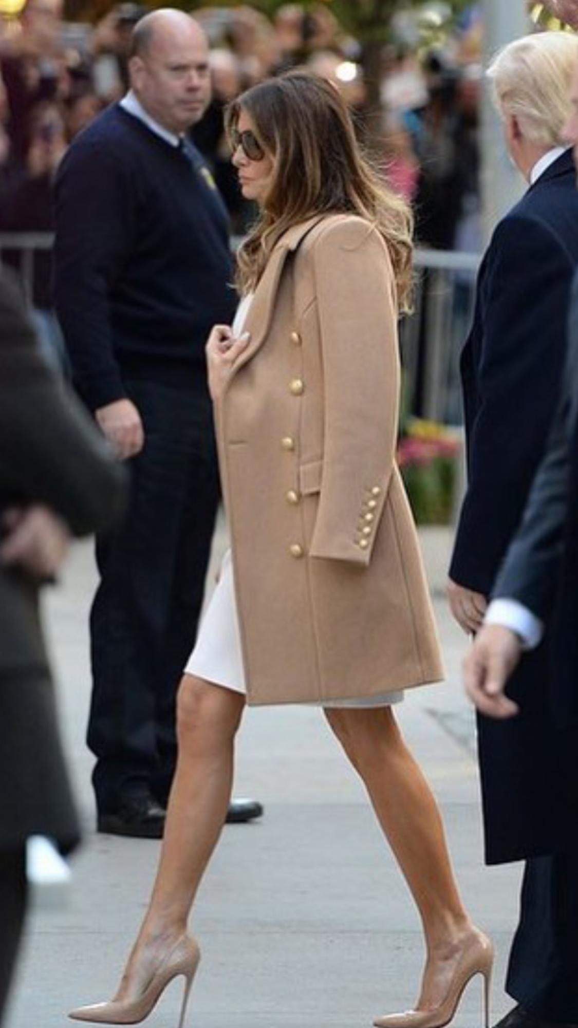 Melania Trump wears Balmain.