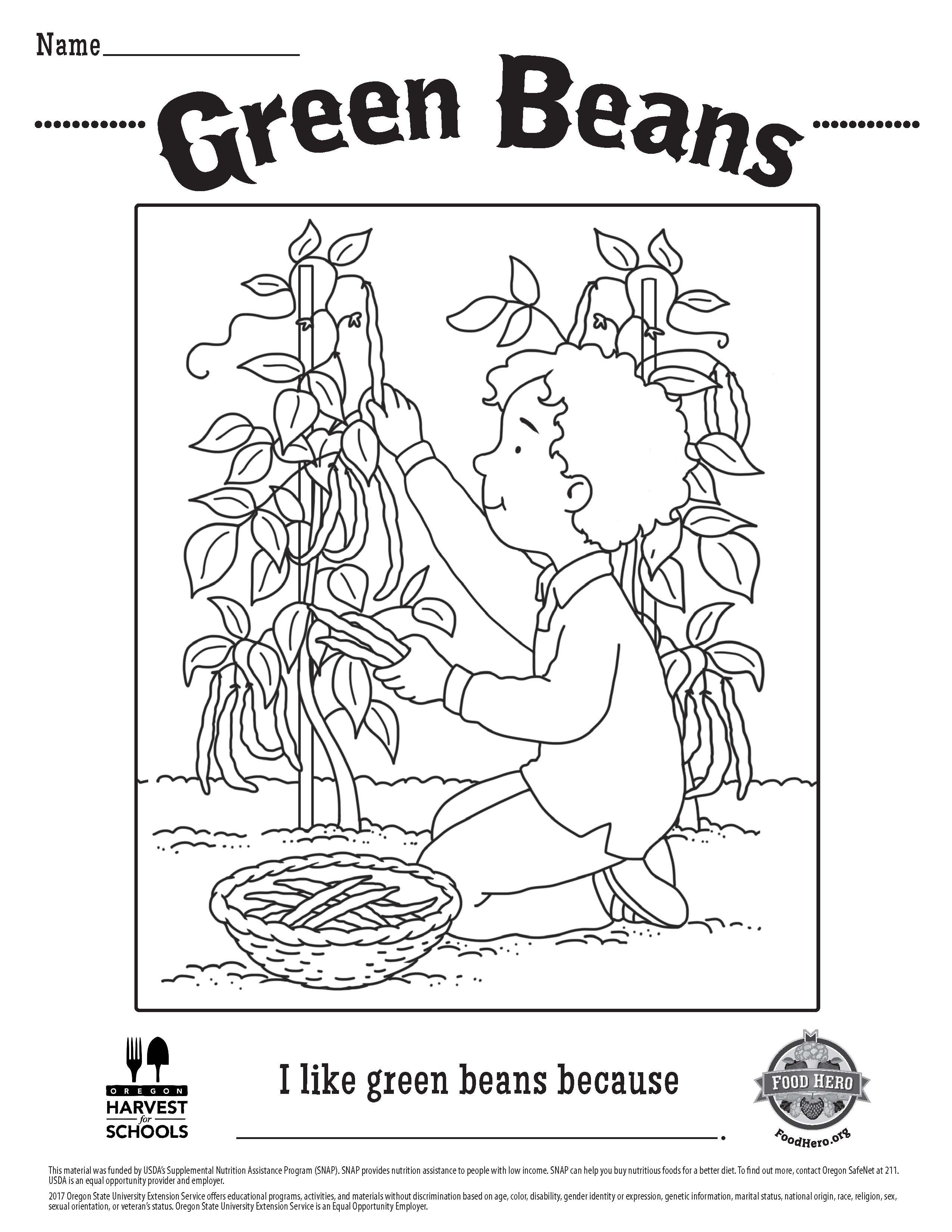 Children S Free Printable Food Hero Green Beans Coloring