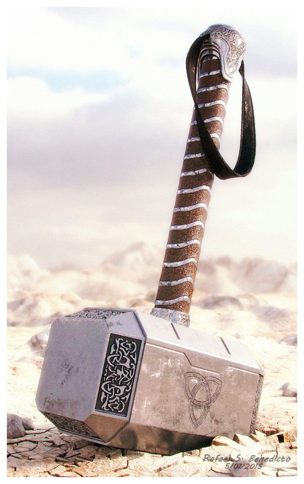 thor s hammer mjolnir movie version 3d model sharecg 3d