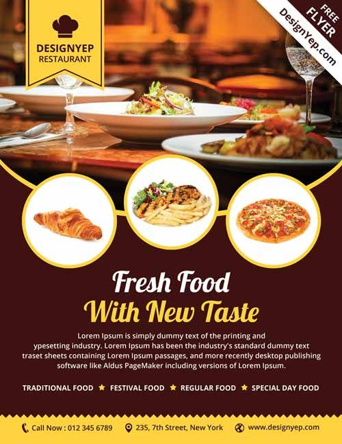 Restaurant Free Psd Flyer Template  Food    Free Psd