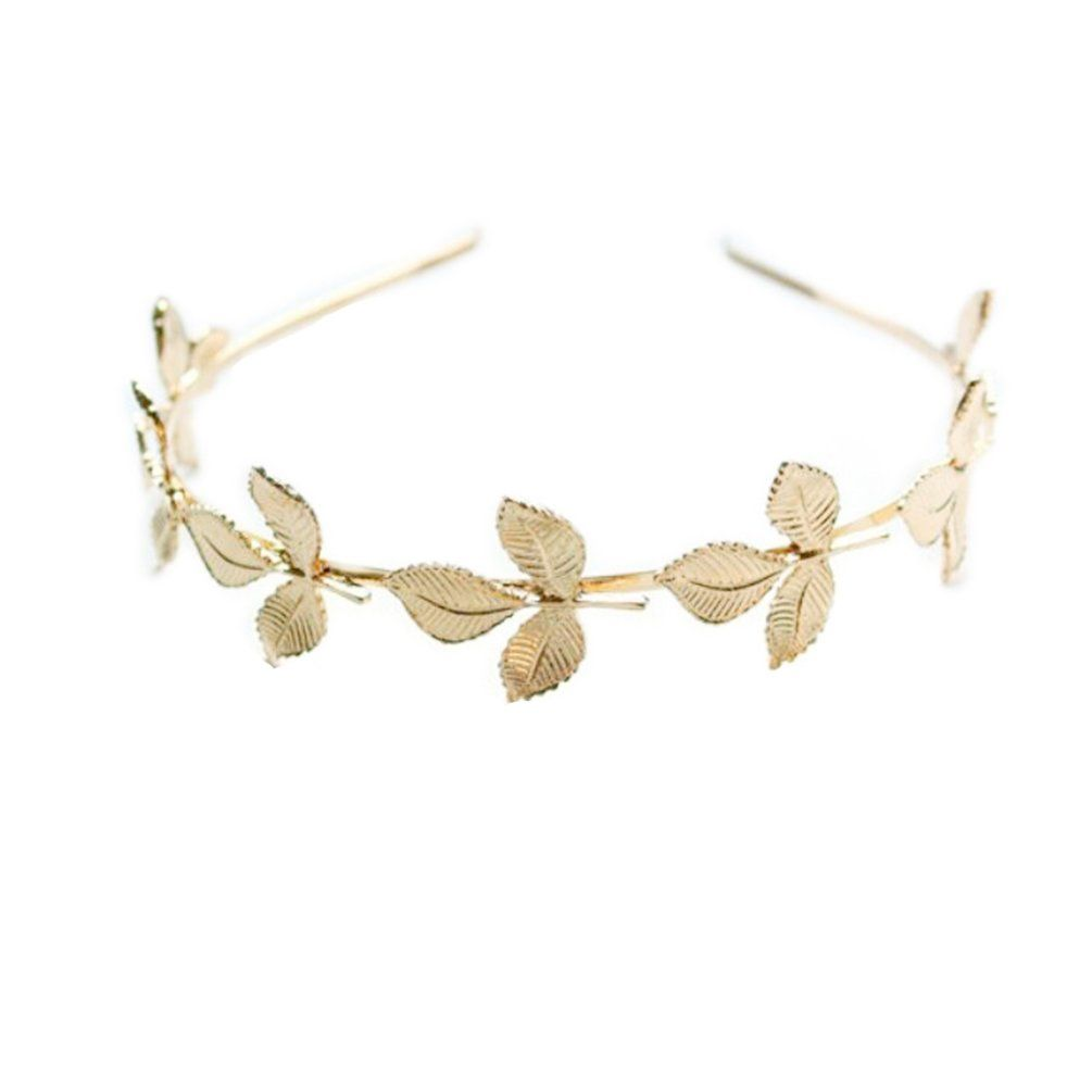 Samgo Vintage Fashion Elegant Lady Accessory Golden Tree Leaf Metal Hairband Hair Cuff Headpiece (7 Leaf blade)