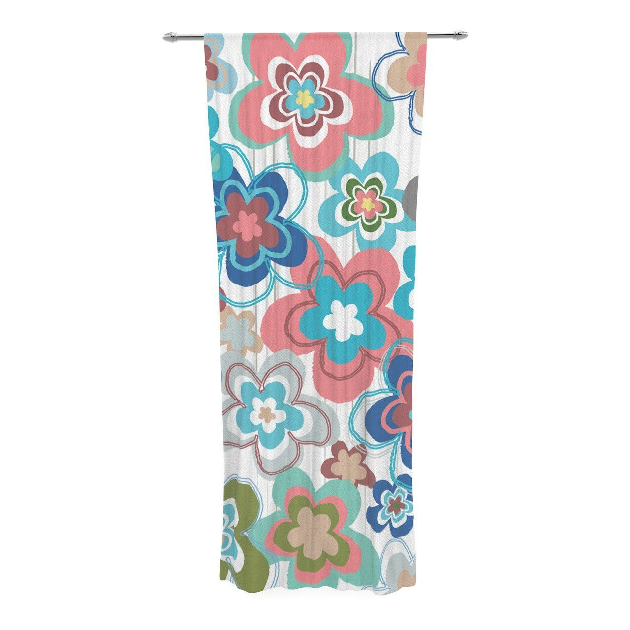 "Jolene Heckman ""A Marsala Morning"" Multicolor Floral Decorative Sheer Curtain"