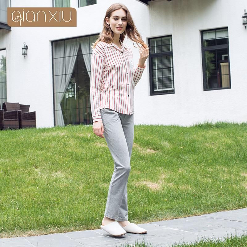 a130bd29ac Qianxiu Real Sale Solid Cotton Pajamas Ladies Pyjamas Women Cotton Striped  Homedress Spring Letter Print Pajama