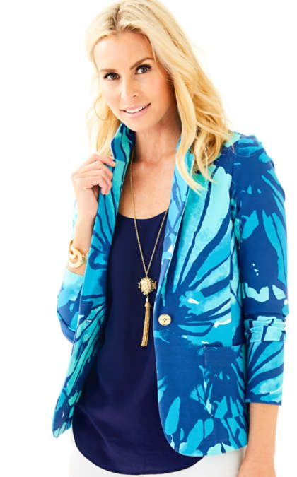 Sparkling Blue Get Inky Tess Blazer 25338 · Lilly PulitzerWhite ...