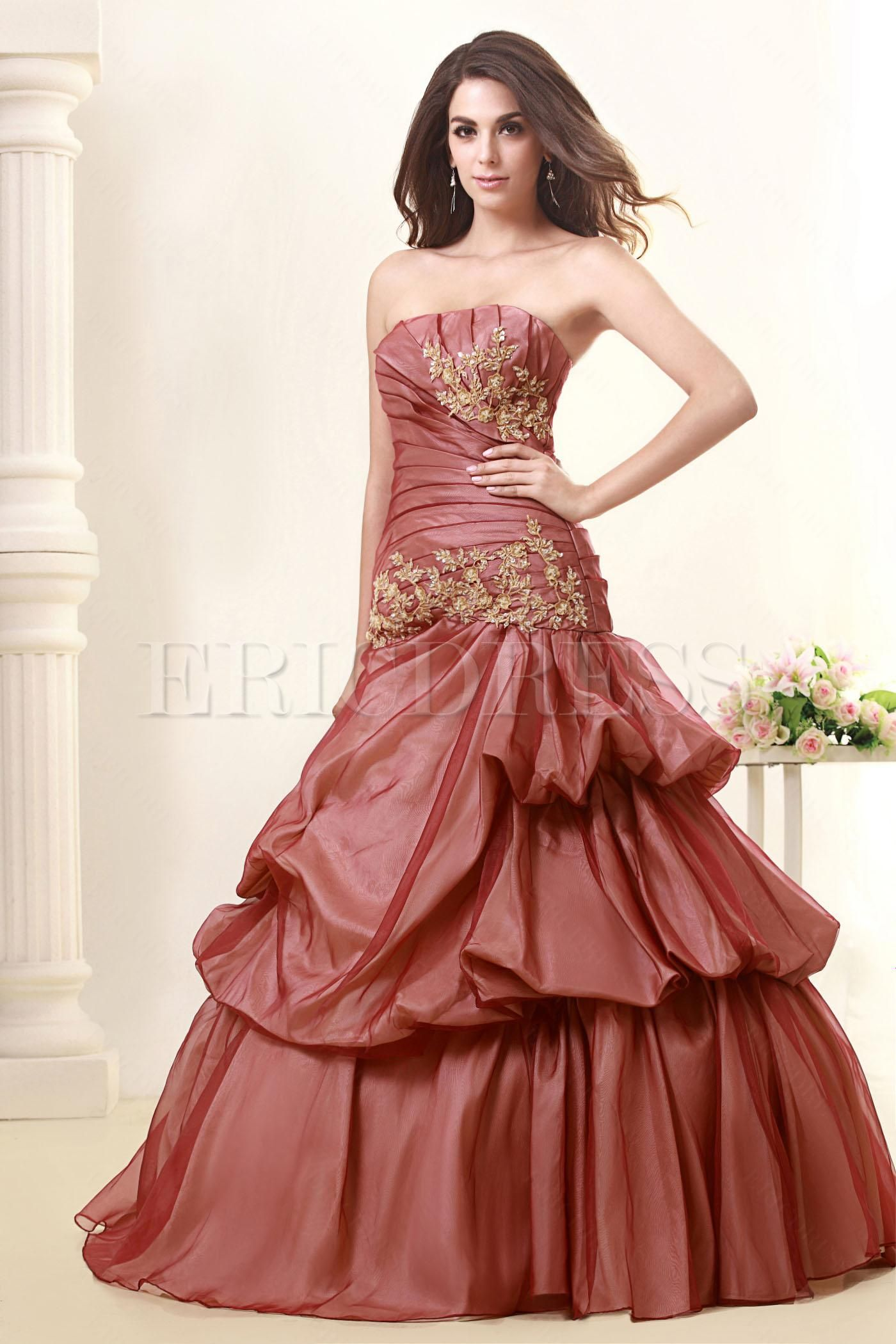 Elegant ball gown strapless floorlength talines promball gown