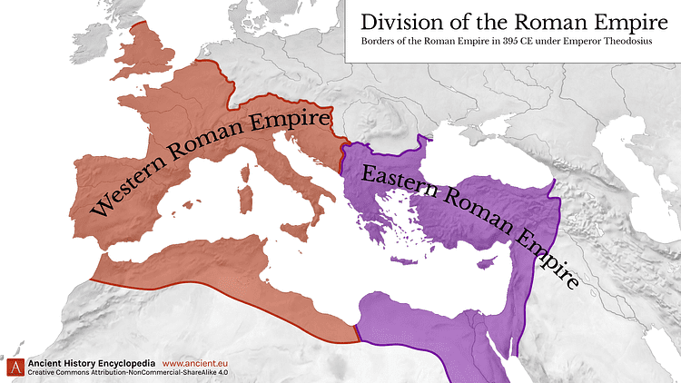 eastern roman empire map Western Eastern Roman Empire 395 Ce In 2020 Roman Empire eastern roman empire map