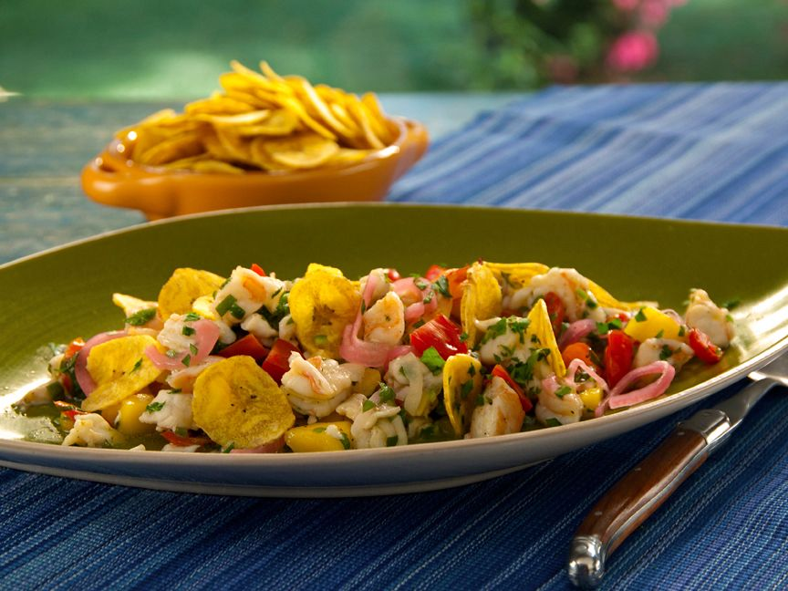 Ceviche (Shrimp and Grouper) with Serrano Chiles, Mango, Smoked Tomatoes, Crispy Plantain Chips from FoodNetwork.com