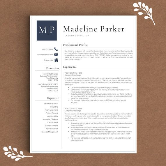 Professional Resume Template for Word 1, 2 and 3 Page Resume - words to describe yourself on a resume