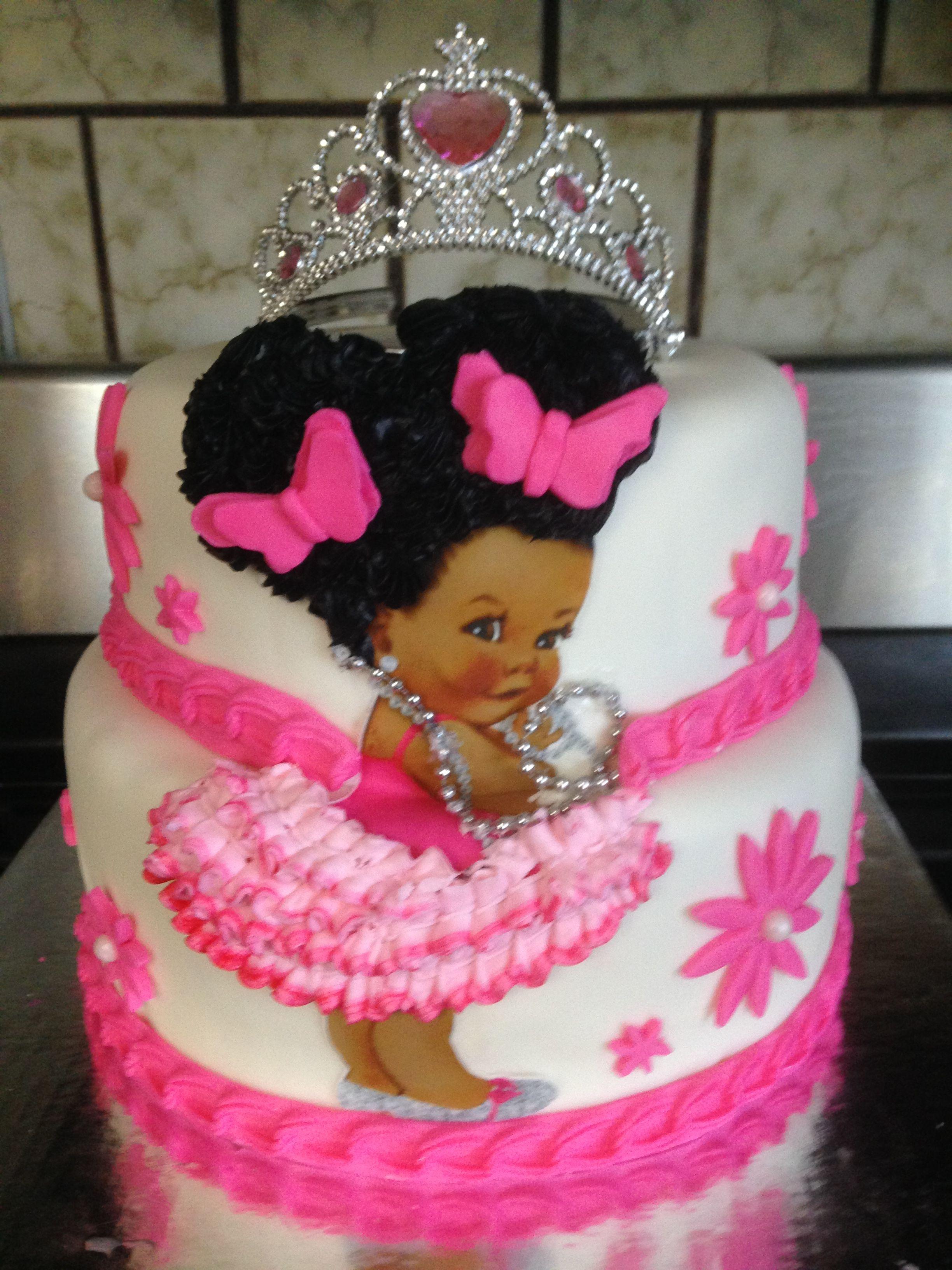 Afro Princess Baby Shower Girl Cakes Baby Girl Birthday